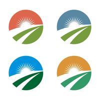 Stel Cirkel Landbouw Logo Template Illustratie Ontwerp. Vector EPS 10.