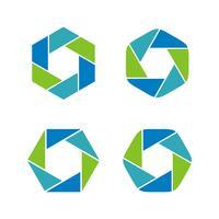 Fije la lente, diseño del ejemplo de la plantilla del logotipo de la fotografía del obturador. Vector EPS 10.