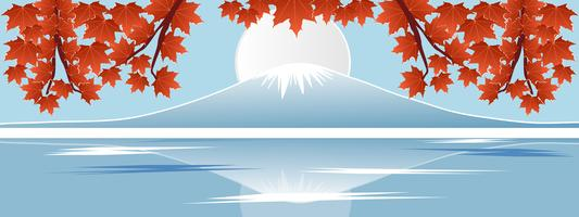 Panorama of autumn season red maple leaf with Fuji mountain in Japan world famous landmarks. Design paper cut style vector illustration