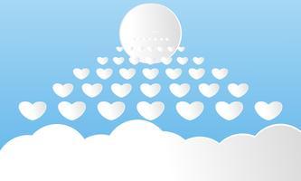Moderne Papierkunst schnitt Wolken mit dem Sonnenweiß. Netter Karikaturhimmelhintergrund mit flaumigen Wolken in den Pastellfarben. Sonnig wolkig