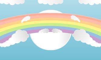 Estilo colorido del corte del arte del papel de las nubes y del arco iris del verano. Diseñe el concepto del ejemplo del vector con el verano de la estación en el fondo claro del cielo