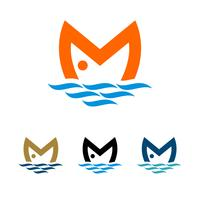 Progettazione dell'illustrazione del modello di logo del pesce della lettera di m. Vettore ENV 10.