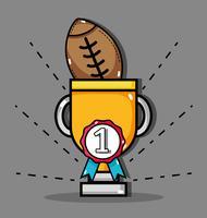bola de futebol americano dentro de copo de prêmio e medalha