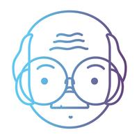 line avatar old man head with hairstyle design