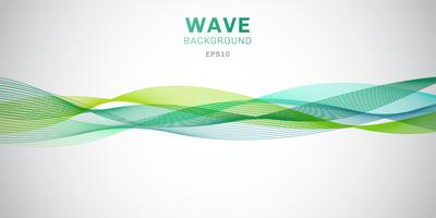 Abstract smooth green waves lines design on white background.