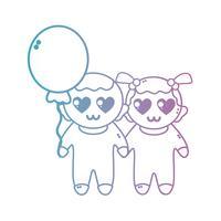 linea bambini carini insieme con acconciatura e palloncino