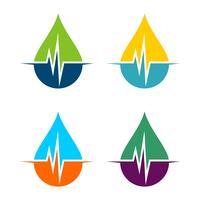 Set Tropfen Wasser und Puls Logo Template Illustration Design. Vektor EPS 10.