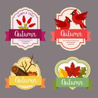 autumn leaves flat style label with barberry element