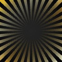 Abstract retro shiny starburst black background with gold dots pattern texture halftone style. Vintage rays backdrop, boom, comic. Cartoon pop art template.
