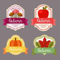 autumn leaves flat style label with nature element