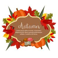 autumn theme with flat style object