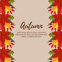 cute autumn nature leaves border illustration
