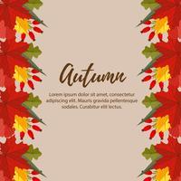 lindo otoño naturaleza deja frontera ilustración