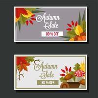 autumn sale flat style leaves banner mushroom log