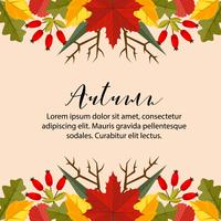 autumn card border horizontal nature leaves flat style