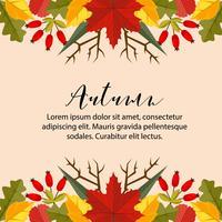 otoño tarjeta frontera horizontal naturaleza hojas estilo plano