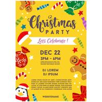 christmas party poster celebration gingerbread man vector