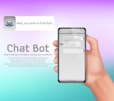 Fond de concept de vecteur de chatbot intelligent en ligne