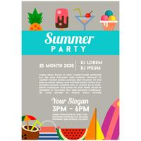 summer party template flat style