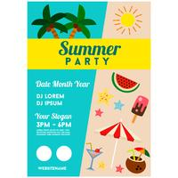 summer party poster template coconut tree