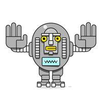 Icona del Bot. Chatbot Icon Concept. Simpatico robot sorridente. Illustrazione di carattere moderno linea vettoriale isolato su sfondo bianco. Outline Robot Sign Design.