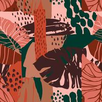 Abstract creative seamless pattern with tropical plants and artistic background.
