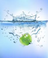 fresh fruit splashing into blue clear water splash healthy food diet freshness concept isolated white background. Realistic Vector Illustration.