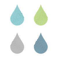 Stellen Sie Fingerabdruck-Linie Tropfen-Wasser Logo Template Illustration Design ein. Vektor EPS 10.