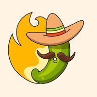 Retro heiße mexikanische Ikone. Fast Food. Vektor Hintergrund. Bio-Zutaten. Mexikanisches Taco-Essen. Bunte vektorabbildung.