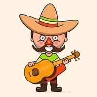 Homem mexicano dos desenhos animados, pronto para seu projeto, cartão, Banner. Vetor