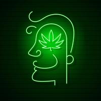 Medical Cannabis Logo Leaf Glowing Neon Sign.