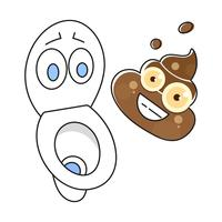 Dirty Toilet Cartoon Illustration Ready For Your Design, Greeting Card