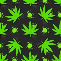 Marijuana leaves seamless pattern. Hand drawn illustration.