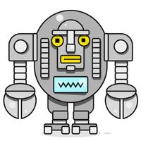 Bot-pictogram. Chatbot Icon Concept. Leuke glimlachende robot. Vector moderne lijnkarakter illustratie geïsoleerd op een witte achtergrond. Overzicht Robot Sign Design.