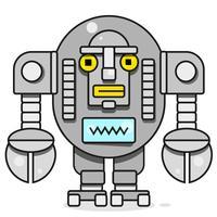 Icono de bot Concepto de icono de chatbot. Robot sonriente lindo. Vector línea moderna ilustración de personaje aislado sobre fondo blanco. Esquema de la muestra del robot de diseño.