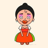 Mexikansk tecknadkvinna, redo för din design, hälsningskort, banner. Vektor