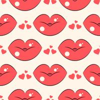 Patrón de labios. Vector el modelo inconsútil con los labios planos que se besan rojos de la mujer s.