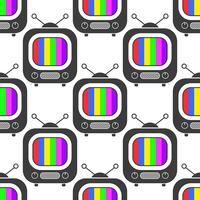 Tv icon in line style seamless pattern background. Business flat vector illustration. Television sign