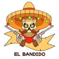 Wild West Skull Bandit With Pistols Vector