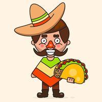 Icono Mexicano Caliente Retro. Comida rápida. Fondo del vector Ingredientes organicos. Comida Mexicana De Taco. Ilustración vectorial colorido