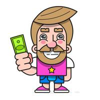 Buyer with money in hand , wants to buy goods vector character Ready For Your Design, Greeting Card