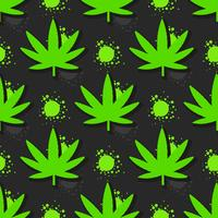 Marijuana leaves seamless pattern. Hand drawn illustration.