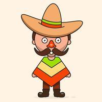 Mexikansk tecknad man, redo för din design, hälsningskort, banner. Vektor