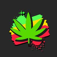 Medical Cannabis Logo With Marijuana Leaf Watercolor Style Vector