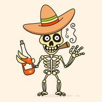 Schedel in de Mexicaanse Sombrero-hoed. Vector