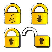 Lock Icons Set Vector. Lock Vector Design. Sign Design. Flat Style.