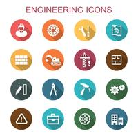 engineering long shadow icons vector