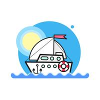 Illustration of sea view with a floating sailing boat in the sea. Sea view on clear sky.