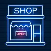 Nu winkelen Neonreclame. Klaar voor uw ontwerp, wenskaart, banner. Vector