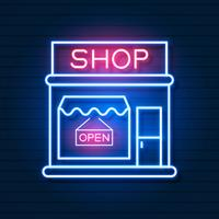 Shop Now Neon Sign. Ready For Your Design, Greeting Card, Banner. Vector